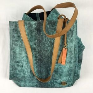 VINCE CAMUTO Turquoise Snake Skin Leather Tote